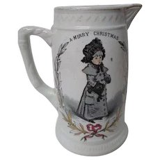 "Very Old 1800's Greenaway Christmas/New Year 7 1/4""T Pitcher"