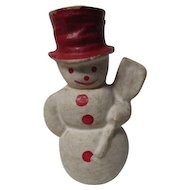 Vintage Christmas Red Hat Snowman w Broom - Compo Wash Over Mache