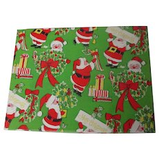 Vintage Christmas Dept Store Gift Box - Santa on Bright Green