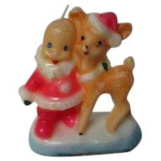 Unusual 1960's GURLEY Christmas Candle - Santa & Reindeer