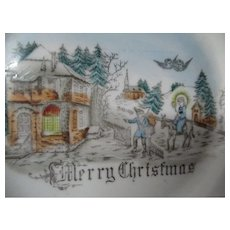 Very Old Germany Porcelain Plate - Father Christmas & Christ Child in Village