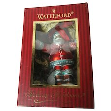 "Waterford Glass Christmas Ornament in Orig Box - 7"" Tall - Welcome Santa"