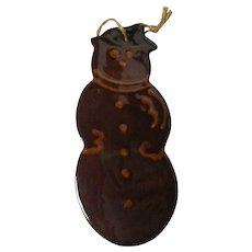 Ned Foltz Redware Pottery Christmas Ornament - Snowman