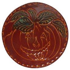 1992 Ned Foltz of Pennsylvania Redware Pottery Plate - Halloween Pumpkin
