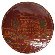 1991 Ned Foltz of Pennsylvania Redware Pottery Plate - House w Pumpkins
