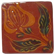 1991 Ned Foltz of Pennsylvania Redware Pottery Tile - Single Tulip