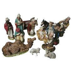 Vintage Italy Christmas Nativity - 14 Piece Set In Porcelain