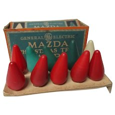 10 Very Old C-6 Mazda Smooth Cone Christmas Light Bulbs in Original Box #2 ML