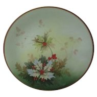 """Old Wm Guerin & Co Limoges France Holly Christmas 8 1/2"""" Plate"""