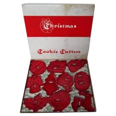 10 Vintage HRM Christmas Cookies Cutter in Original Box - Red Hard Plastic