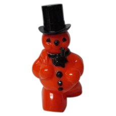 Vintage 1960's ROSBRO Halloween Snowman w PIPE Christmas Candy Container