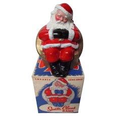 Mint In ORIGINAL BOX - 1960's Metal Bank - Santa in Chair - Manheim PA Bank