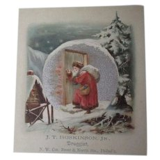 Very Old Christmas Trade Card - HOSKINSON Druggist - Philadelphia - Incredible