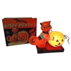 Vintage Halloween Miller Electric Light in Original Box - Kitty Pumpkin - Rosbro