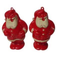 2 Vintage ROSEN Santa Claus Lollipop Candy Holder Ornaments