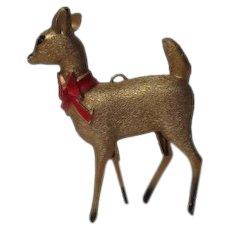 Unusual Vintage Hard Plastic Christmas Deer Ornament