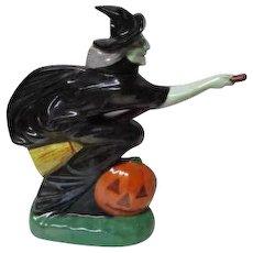 Vintage Michter's Halloween Bottle - Flying Witch on Broom with Pumpkin JOL