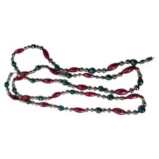 68 Inches - Old Glass Bead Christmas Garland - Pink Turquoise & Silver