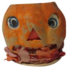 "2 3/4"" Tall - Nice Vintage Halloween Germany JOL Pumpkin Lantern #9"