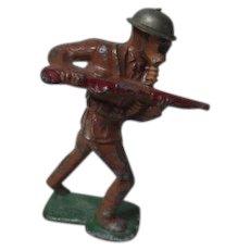 Vintage Cast Metal Military Figure - Soldier Wearing Gas Mask