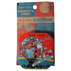 Vintage Worlds Fair - 1964/1965 - Dime Bank on Original Card Pkg