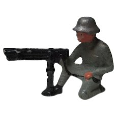 Vintage Cast Metal Military Figure - Soldier Kneeling w Machine Gun