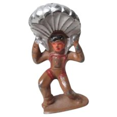 Vintage Cast Metal Military Figure - Soldier with Parachute