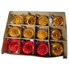 12 Vintage 1960's Fantasia Poland Glass Christmas Ornaments in Original Box