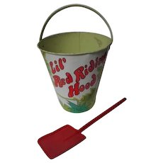 Vintage Ohio Art Tin Litho Sand Pail & Shovel - Lil Red Rinding Hood