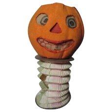 Small Unusual Halloween Germany JOL Pumpkin Lantern w Accordian Base
