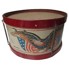 Nice Vintage 4th of July Patriotic Toy Drum with Eagle & Flags