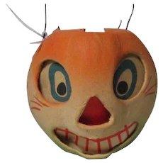 "2 3/4"" Tall - Nice Halloween Germany JOL Cat Face Pumpkin Lantern #10"