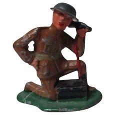 Vintage Cast Metal Military Figure - Soldier on Field Telephone