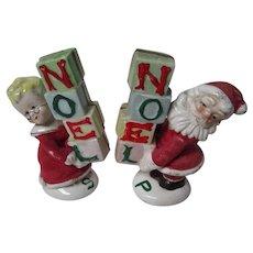 Pair of Vintage NAPCO Japan Ceramic Noel Santa Salt & Pepper Shakers