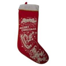 Vintage Stencil Print Christmas Stocking #1 - Santa Sled Reindeer