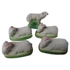 5 Vintage Chalkware Christmas Nativity Sheep