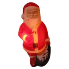 Vintage Blow Mold Christmas Light - DAPOL Santa Standing w Toy Sack & Candy Cane