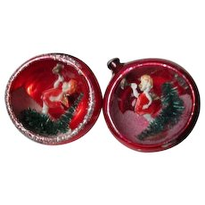 2 Old Japan Scene in Indent Glass Christmas Ornaments - ANGELS