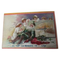 Very Old Christmas Trade Card - Tired Santa - CORSETS - LIEGE BELGIUM