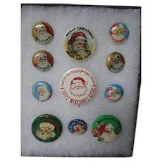 11 Vintage Pinback Christmas Santa Buttons