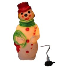 Vintage Blow Mold Christmas Light - Empire Snowman - Traditional Colors