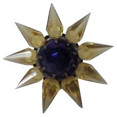 1930s C-6 Single Row Matchless Star Christmas Light - Amber w Cobalt Gem