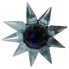 1930s C-6 Single Row Matchless Star Christmas Light - Blue w Cobalt Gem