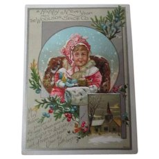 Old New Year Trade Card - Woolson Spice Co - Child with Toys