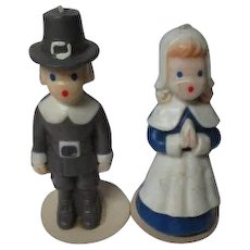 Vintage 1960's Thanksgiving GURLEY Candles - Pilgrim Man & Lady w Labels