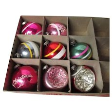 8 Vintage 1960's SHINY BRITE Glass Christmas Ornaments - Stripe Stencil & Indent