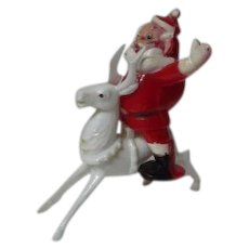 "Unusual Vintage 5""T Santa Riding Reindeer Christmas Candy Container"