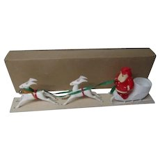 Vintage Christmas Santa in Sled Candy Holder w 2 Reindeer - Original Box