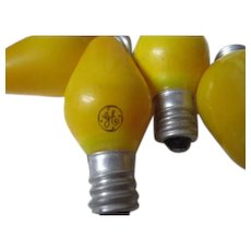 6 Vintage GE General Electric C-7 Christmas Light Bulbs in YELLOW