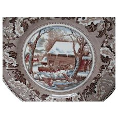 12 Vintage Johnson Bros Dinner Plates - Thanksgiving Frozen Up Pattern